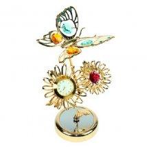 Фигурка декоративная с часами Бабочка на подсолнухе