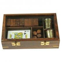 Подарочный набор игр: домино, игральные карты, кости, 2 стаканчика