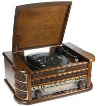 Музыкальный центр-ретро. Функции: винил, AM/FM, CD, аудио, USB
